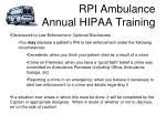 rpi ambulance annual hipaa training20