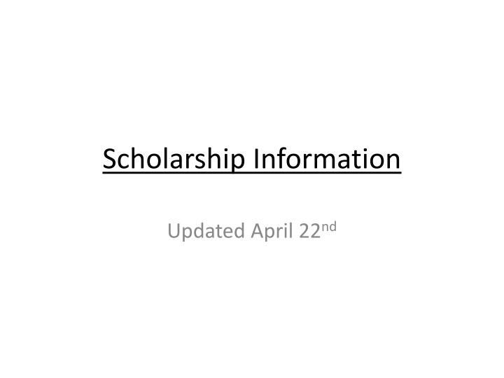 scholarship information n.