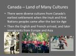 canada land of many cultures