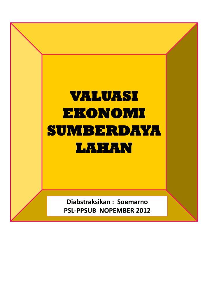 valuasi ekonomi sumberdaya lahan n.