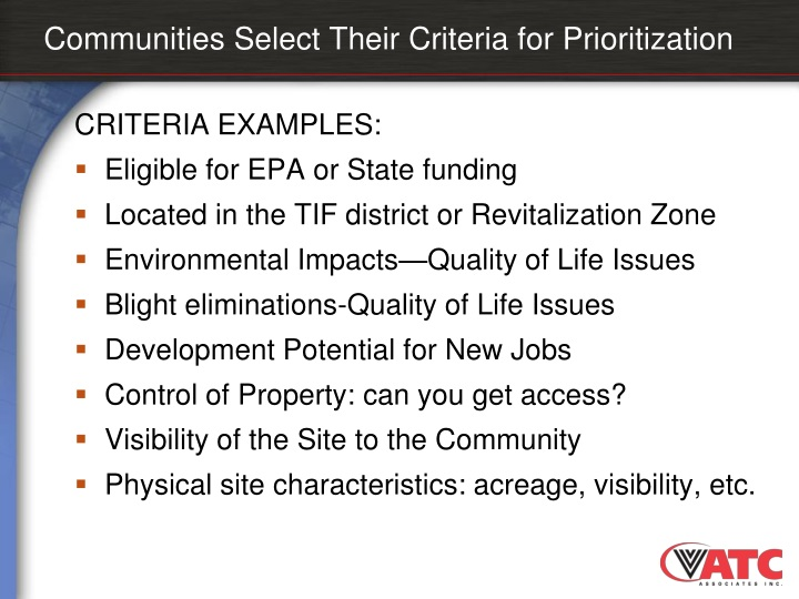 Communities Select Their Criteria for Prioritization