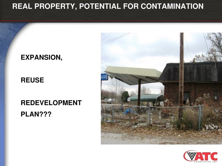 REAL PROPERTY, POTENTIAL FOR CONTAMINATION