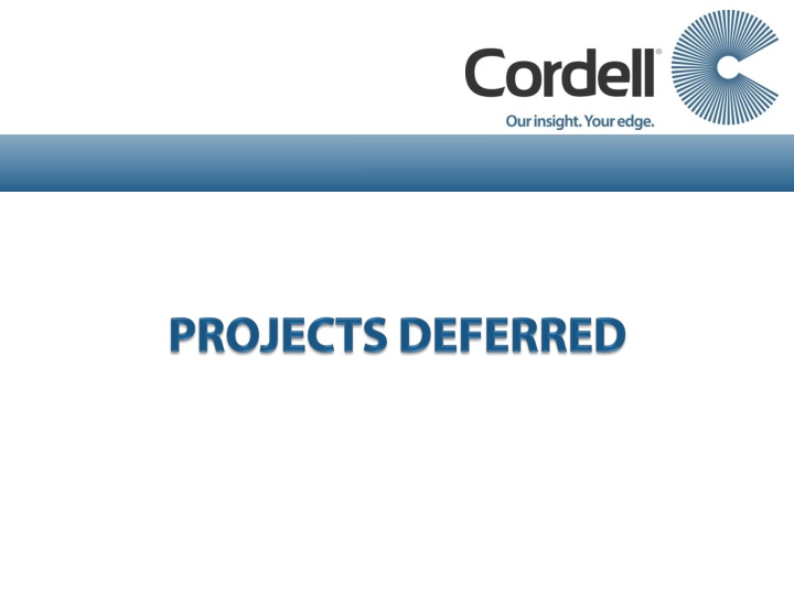 PROJECTS DEFERRED