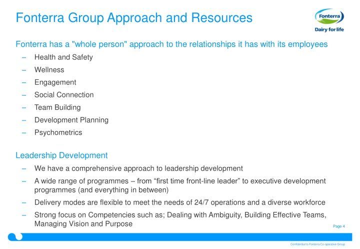 Fonterra Group Approach and Resources