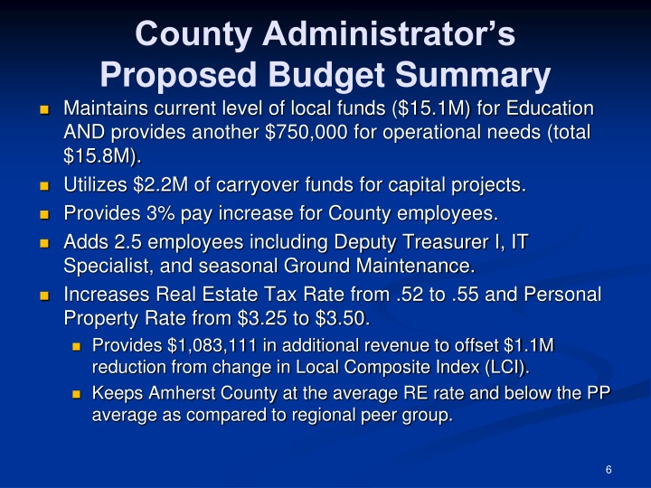 County Administrator's    Proposed Budget Summary