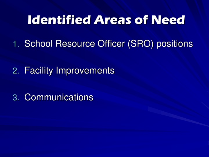 Identified Areas of Need