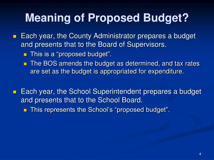 Meaning of Proposed Budget?