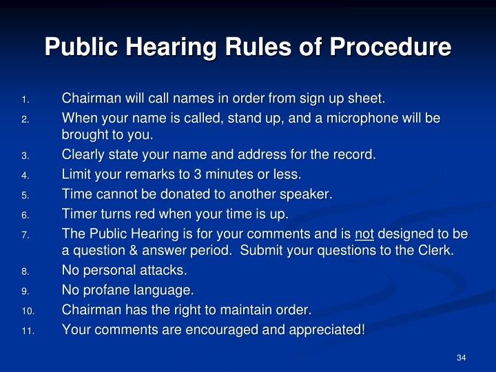 Public Hearing Rules of Procedure