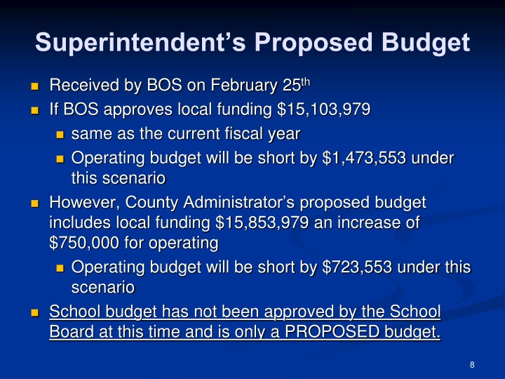 Superintendent's Proposed Budget