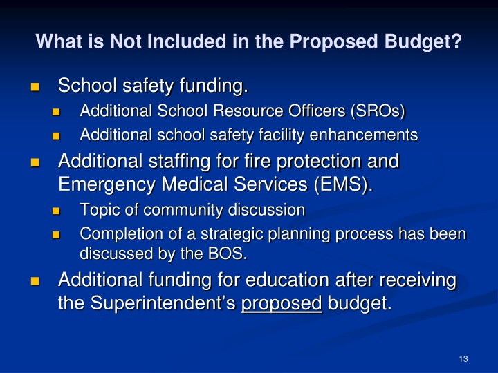 What is Not Included in the Proposed Budget?