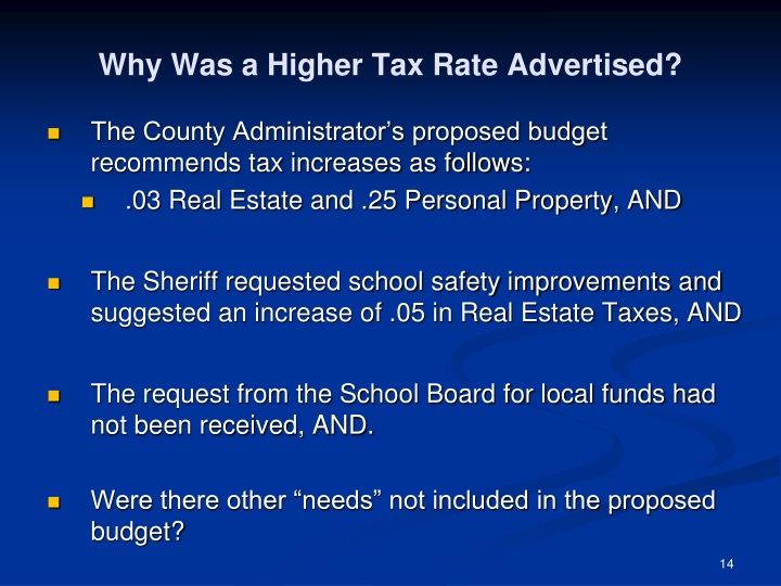 Why Was a Higher Tax Rate Advertised?