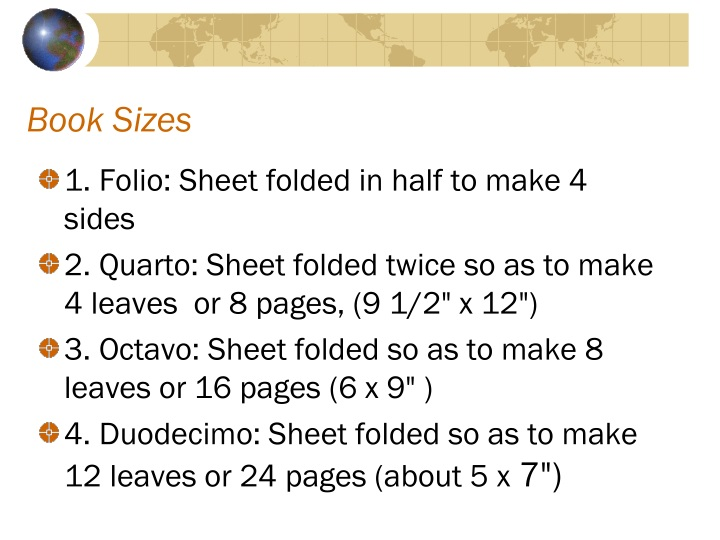Book Sizes