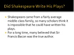 did shakespeare write his plays