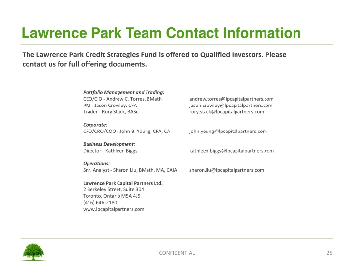 Lawrence Park Team Contact Information