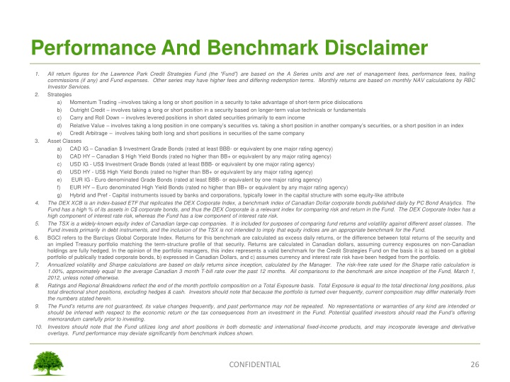 Performance And Benchmark Disclaimer
