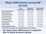 mean differences across bp groups