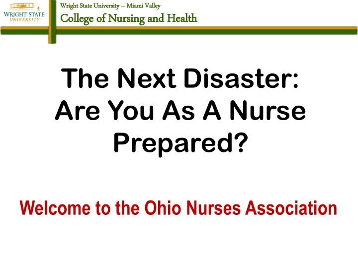the next disaster are you as a nurse prepared n.