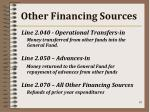 other financing sources
