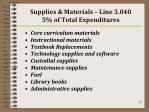 supplies materials line 3 040 5 of total expenditures