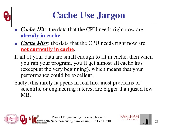 Cache Use Jargon