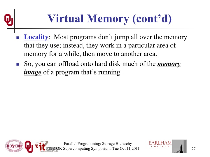 Virtual Memory (cont'd)