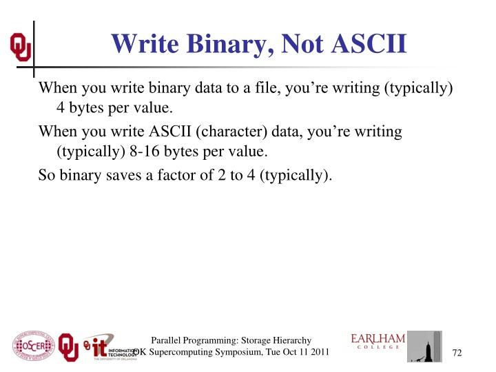 Write Binary, Not ASCII
