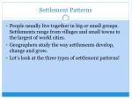settlement patterns