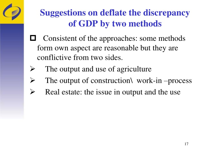 Suggestions on deflate the discrepancy of GDP by two methods