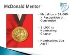 mcdonald mentor