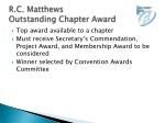 r c matthews outstanding chapter award