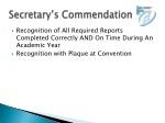 secretary s commendation