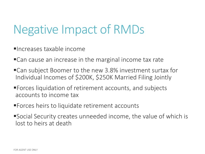 Negative Impact of RMDs