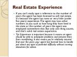real estate experience