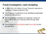 fraud investigation cash receipting