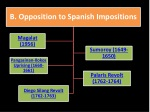 b opposition to spanish impositions