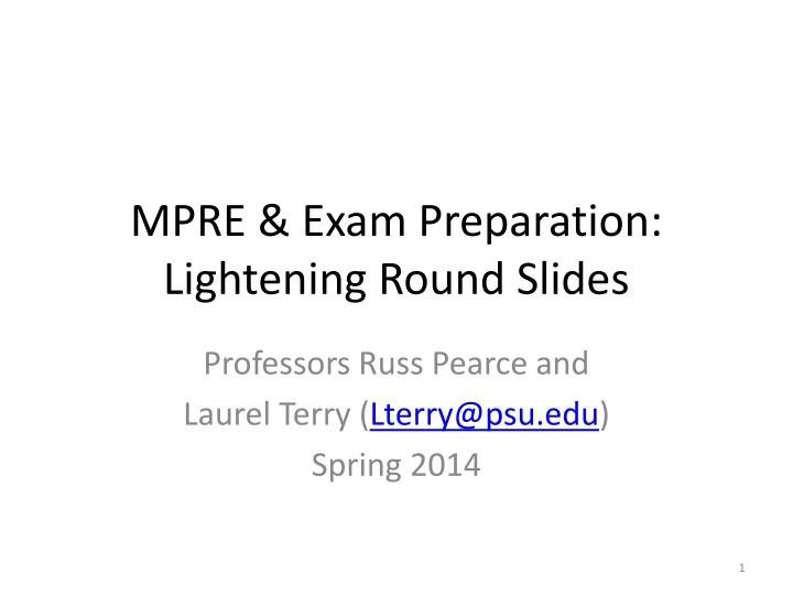 mpre exam preparation lightening round slides n.