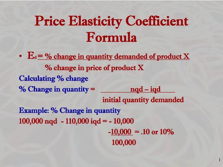 Ppt Price Elasticity Coefficient Formula Powerpoint Presentation