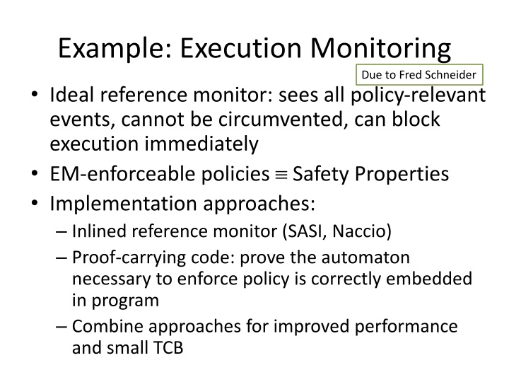Example: Execution Monitoring
