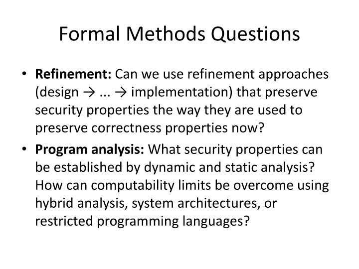 Formal Methods Questions