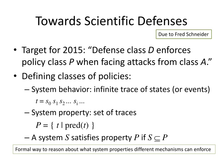 Towards Scientific Defenses