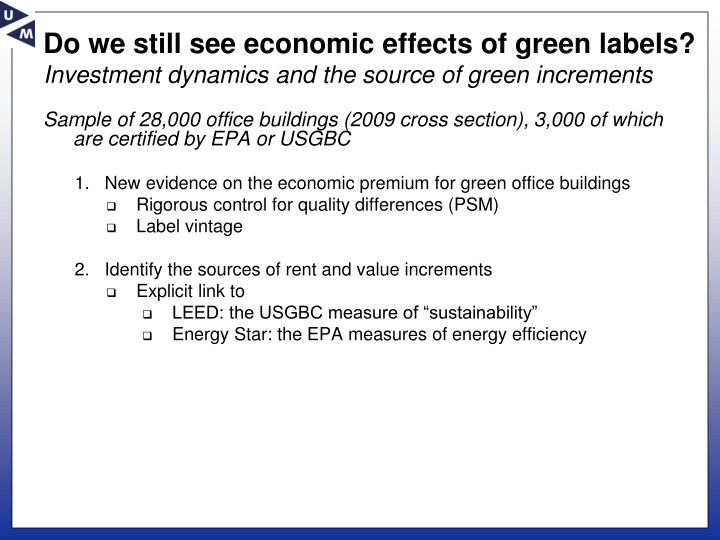 Do we still see economic effects of green