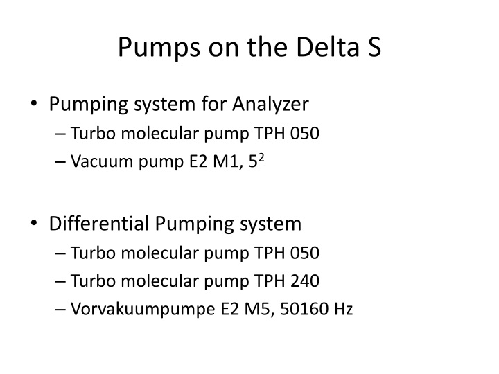 Pumps on the Delta S
