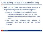 child safety issues discovered in 2013