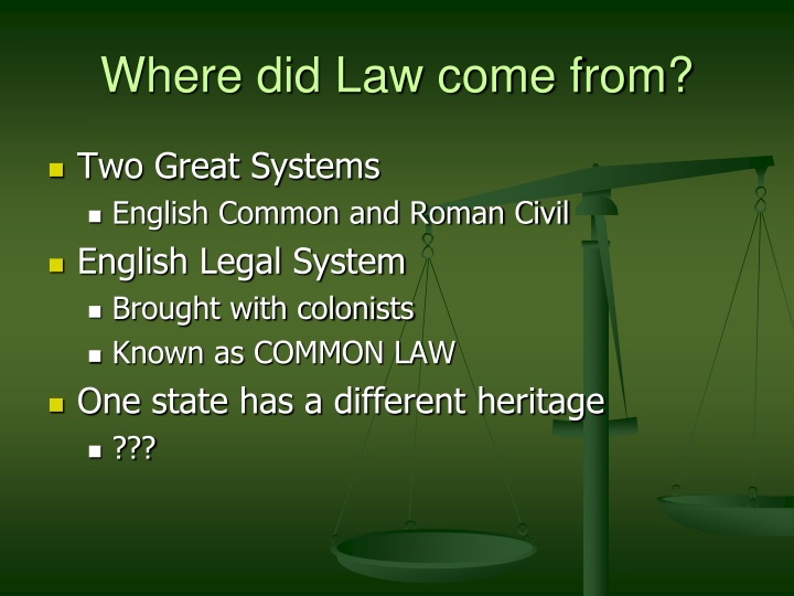 Where did Law come from?