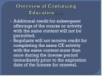 overview of continuing education cont3