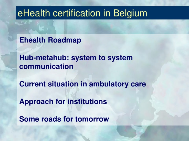 Ehealth certification in belgium