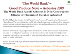 the world bank good practice note asbestos 2009