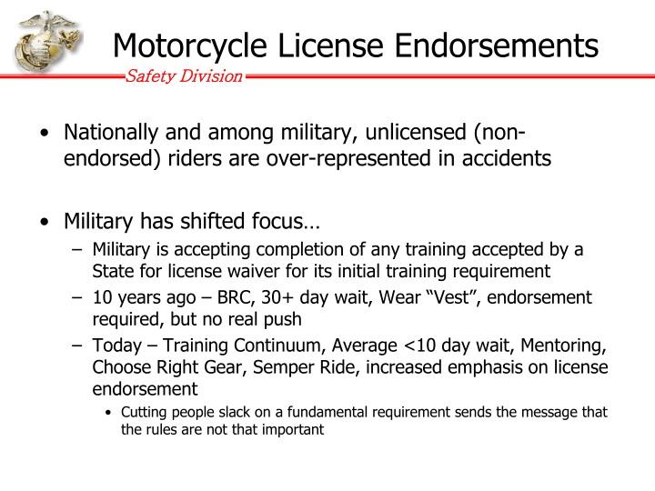 Motorcycle license endorsements