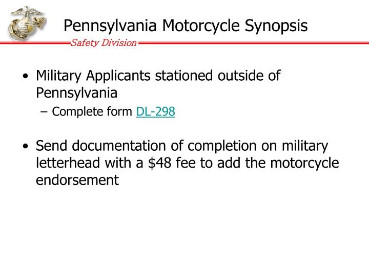 Pennsylvania Motorcycle Synopsis