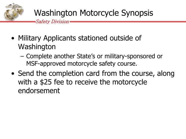 Washington Motorcycle Synopsis
